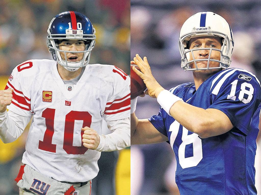 Eli Manning (left), comeback king and his brother Peyton, Hall of Famer in waiting