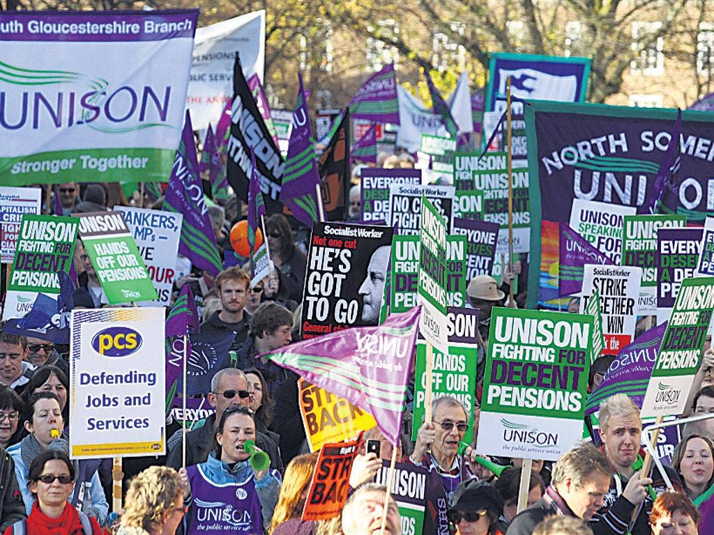 Protests last November by public-sector workers have forced pension plans to be diluted