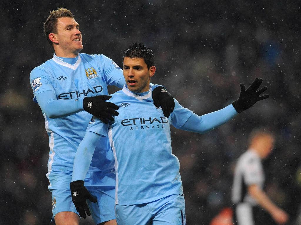 Freeze frame: Sergio Aguero and Edin Dzeko celebrate City's opener