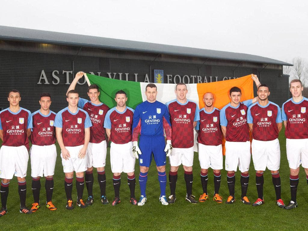 Goalkeeper Shay Given stands proudly among a team of fellow Irishmen at Villa