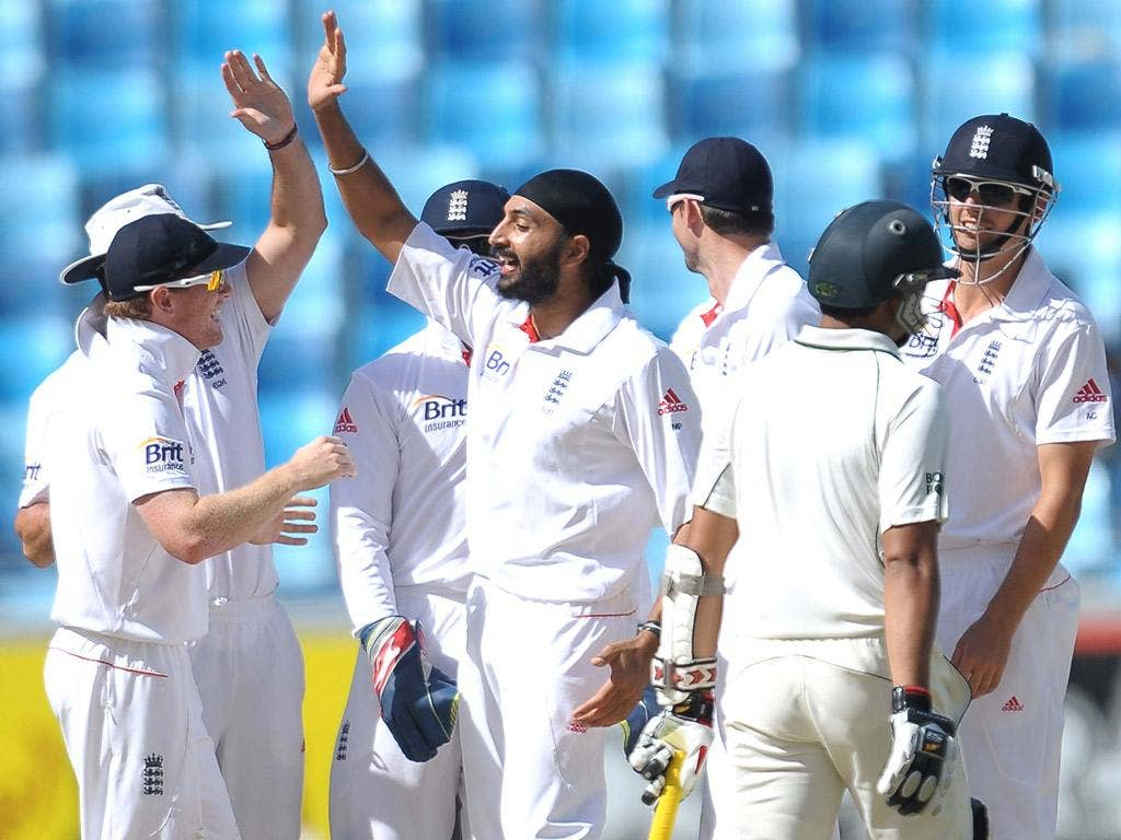 Monty Panesar celebrates after dismissing Pakistan captain Misbah-ul Haq – he was lbw for the fifth time in the series
