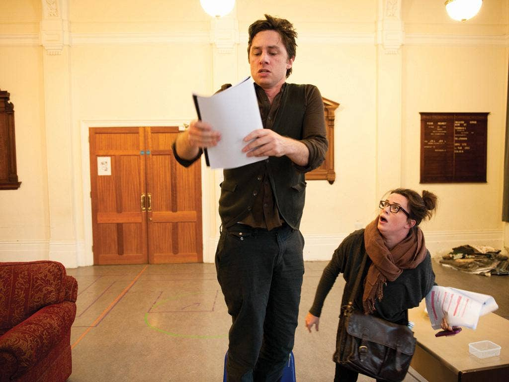 Blue-collar guy: Zach Braff  rehearsing 'All New People'