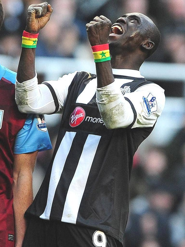 Papiss Demba Cissé enjoys his goal on his Newcastle debut