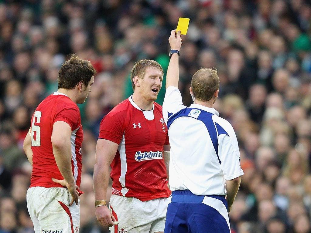 Bradley Davies is shown yellow during the match with Ireland