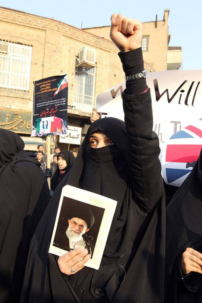 Mossadeq embodied Iran's 'martyrdom complex': A protest outside the British Embassy in Tehran, 2011