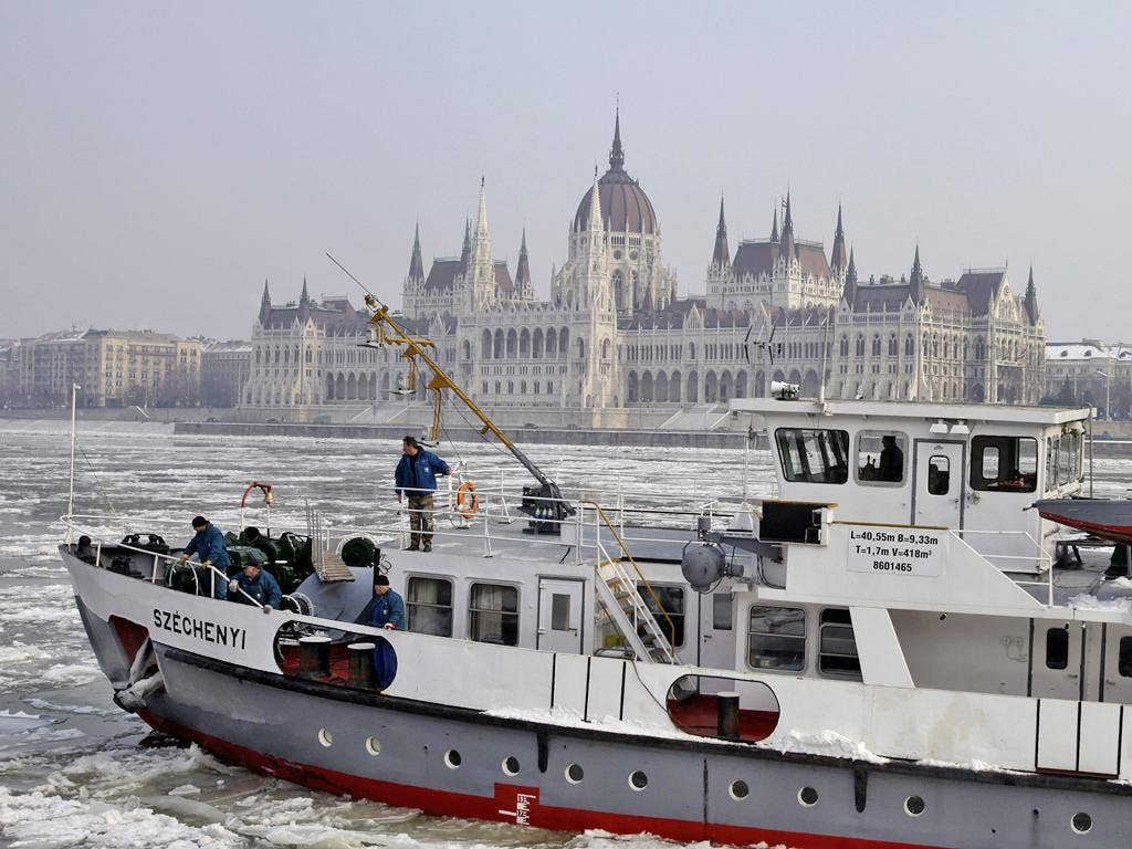 The Danube began to ice over in early February as temperatures plunged to minus 20 Celsius