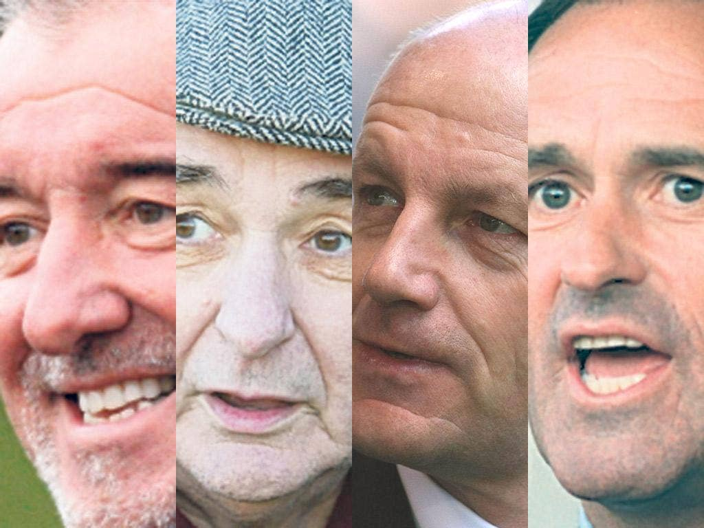 Money talks: Terry Venables, Brian Clough, Steve Coppell, George Graham