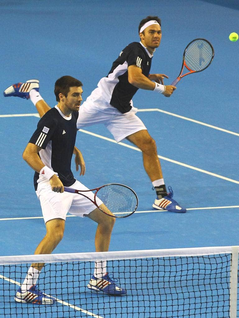 Colin Fleming and Ross Hutchins in action during Day Two of the Davis Cup