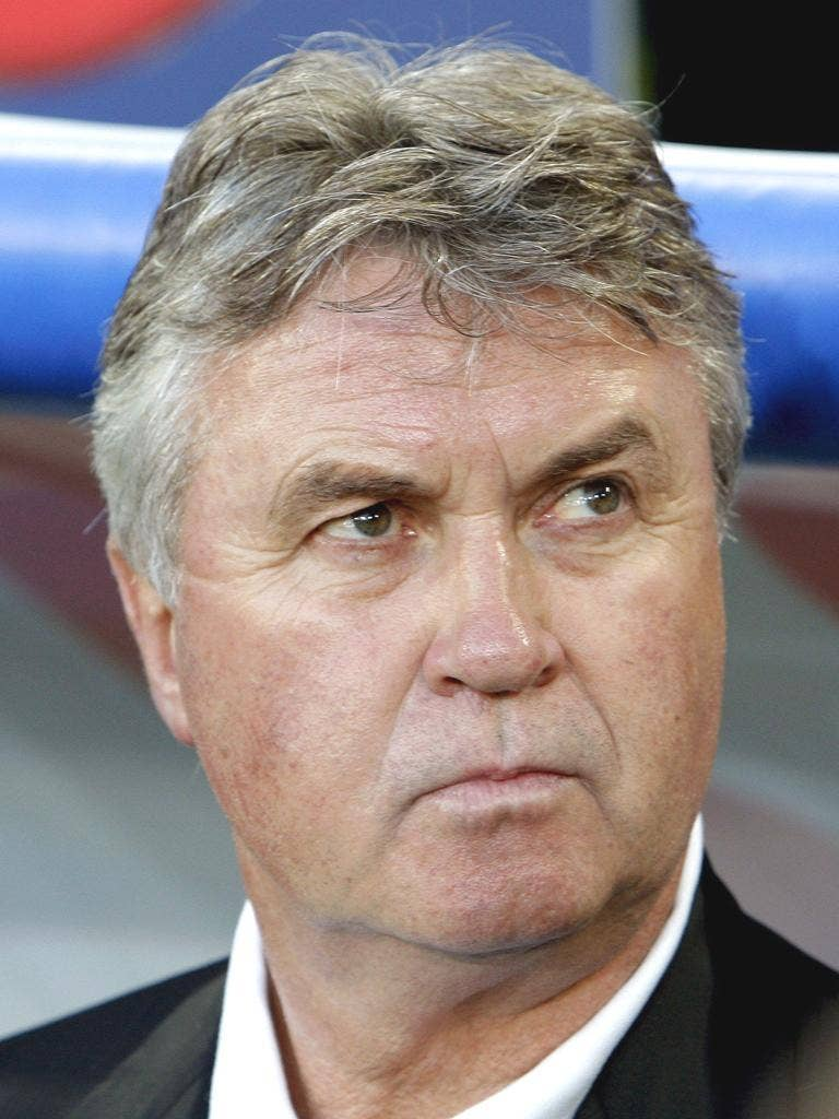 GUUS HIDDINK: The Dutchman is available to take over at Chelsea should the role become available