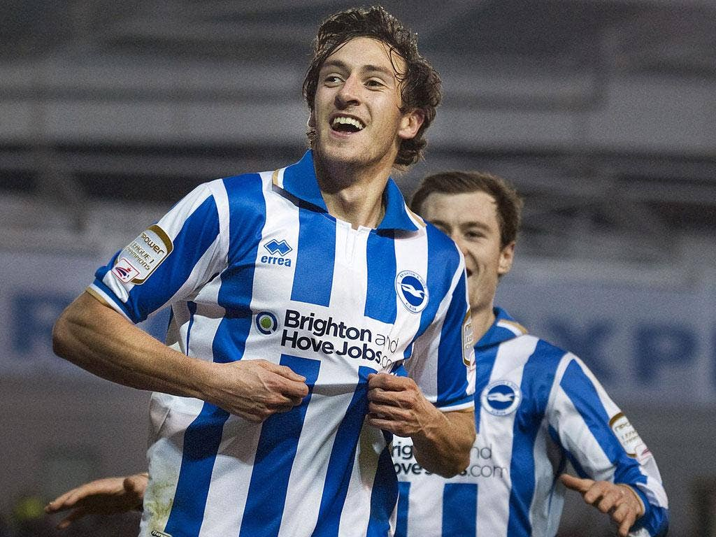 Brighton's Will Buckley celebrates scoring against Newcastle in the fourth round