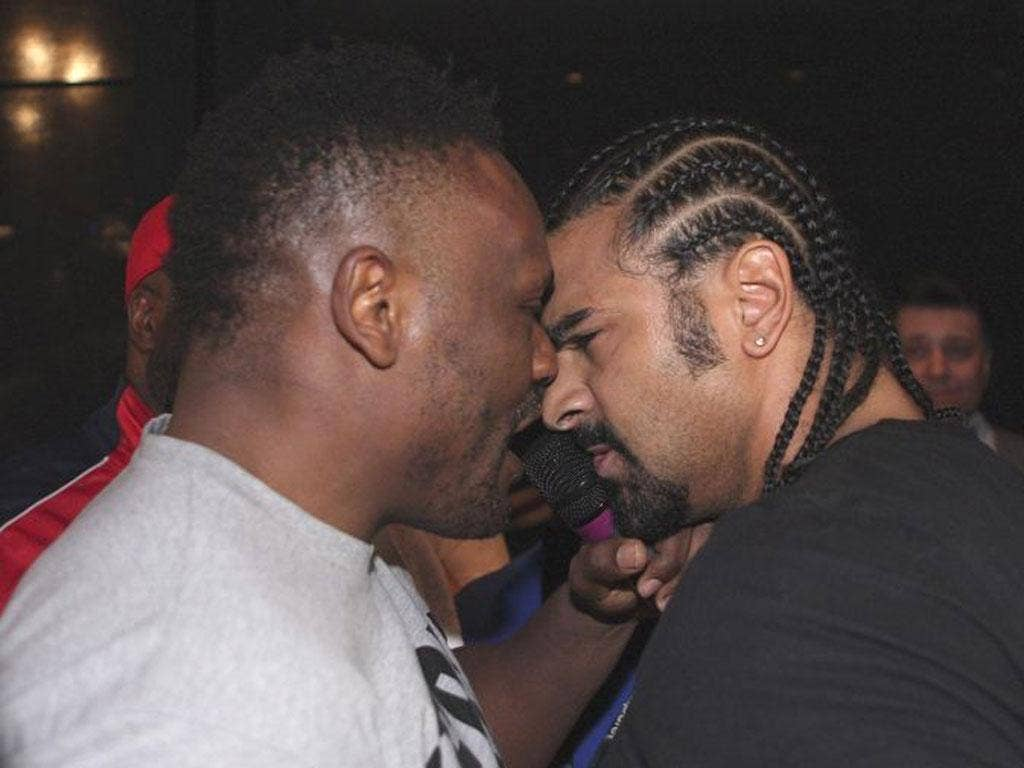 David Haye and Dereck Chisora confront each other
