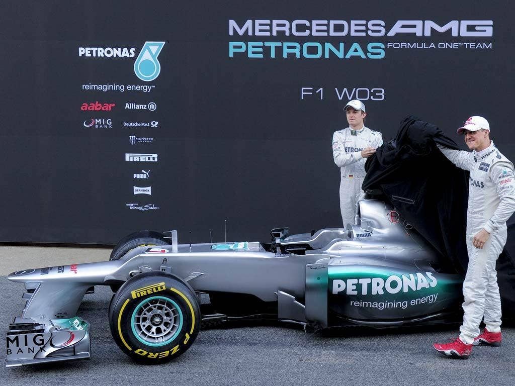 Michael Schumacher unveils the new Mercedes