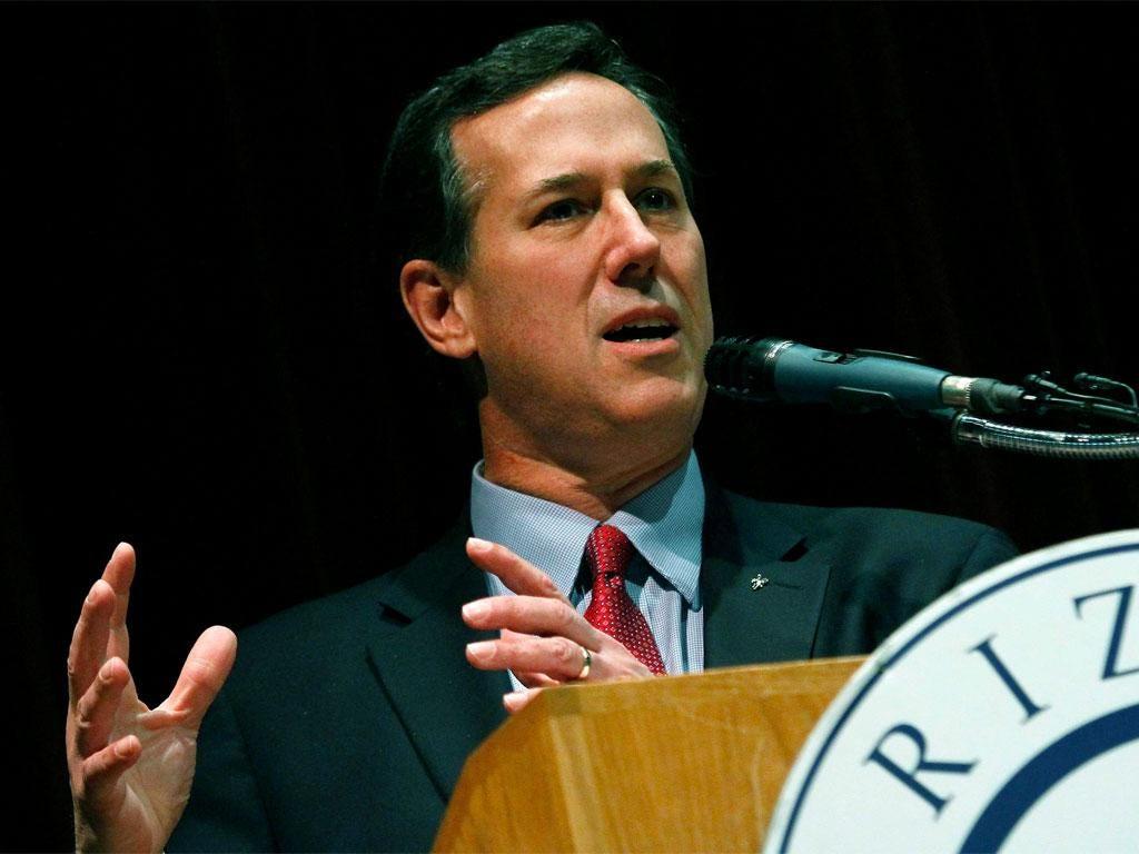 Rick Santorum addresses an audience in Phoenix, Arizona, ahead of next week's primary vote