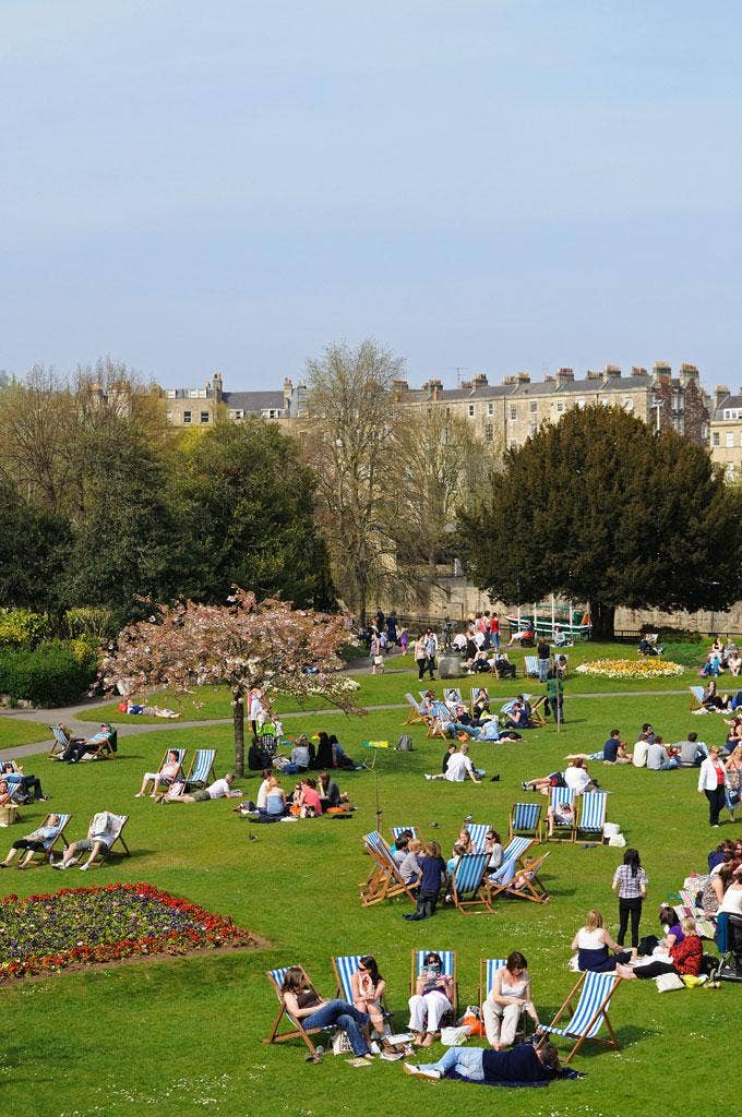 Reading and relaxation: Parade Gardens in Bath. The city is hosting the 'Independent' Literature Festival
