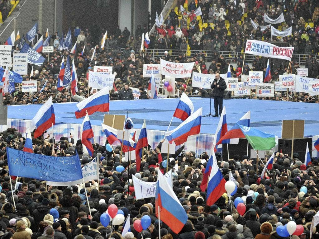 The pro-Putin rally was held on Defenders of the Fatherland day, a national holiday that replaced the Soviet-era Red Army Day