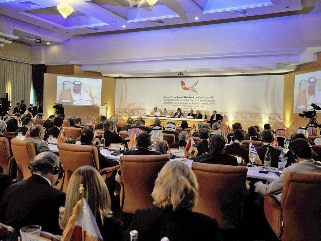 Delegates and officials from over 60 countries take part in the Friends of Syria conference in Tunis