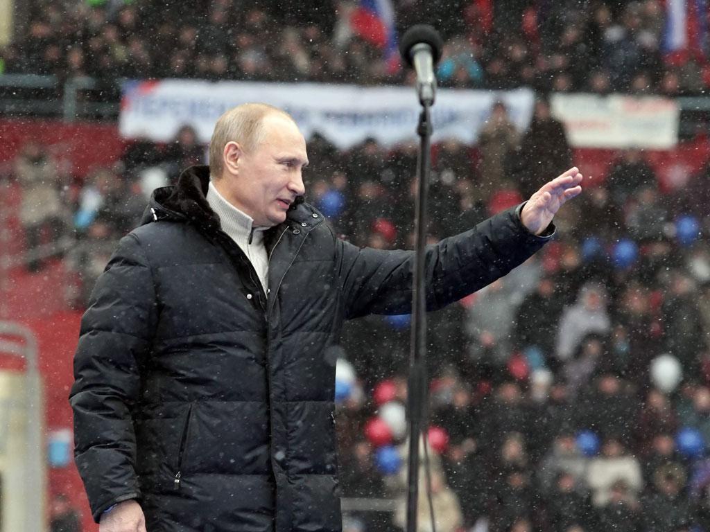 Opinion polls predict that Vladimir Putin will win the election easily