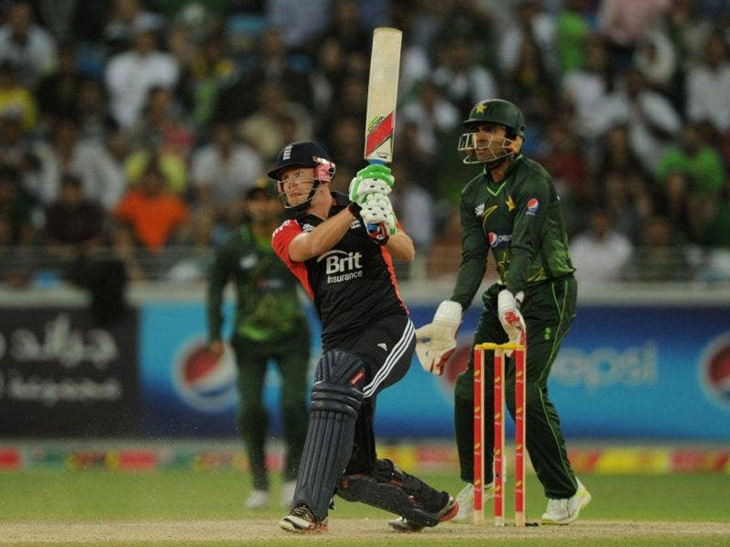 Match-winner Jonny Bairstow hits one of his two sixes on his way to a maiden England half-century
