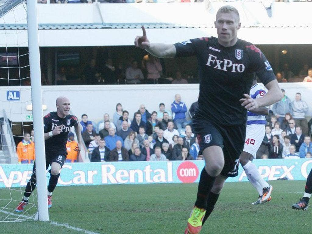 QPR's Pavel Pogrebnyak celebrates after his seventh-minute goal