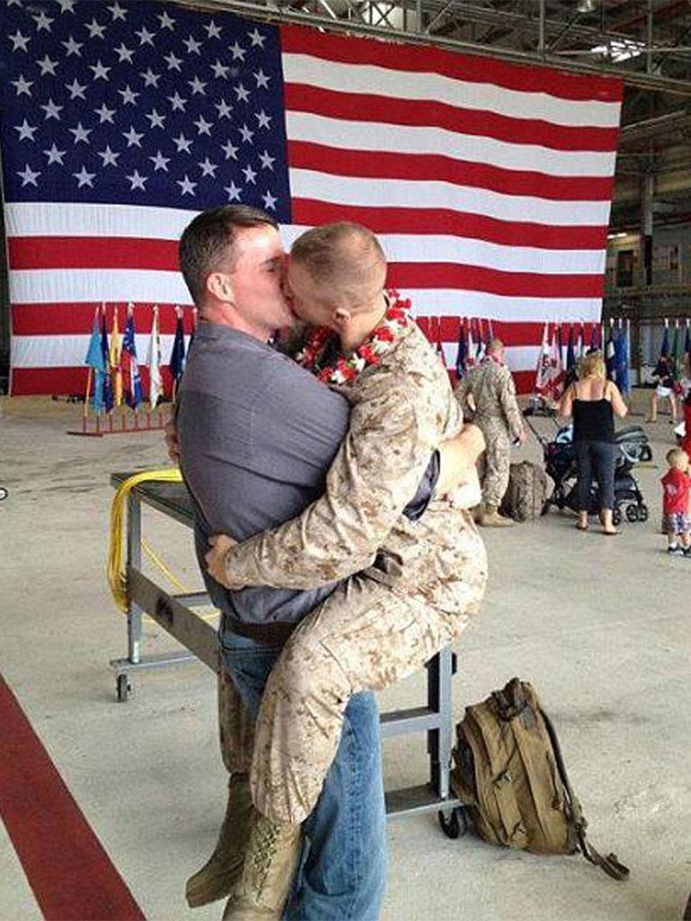 Sgt Brandon Morgan's 'first kiss' with Dalan Wells