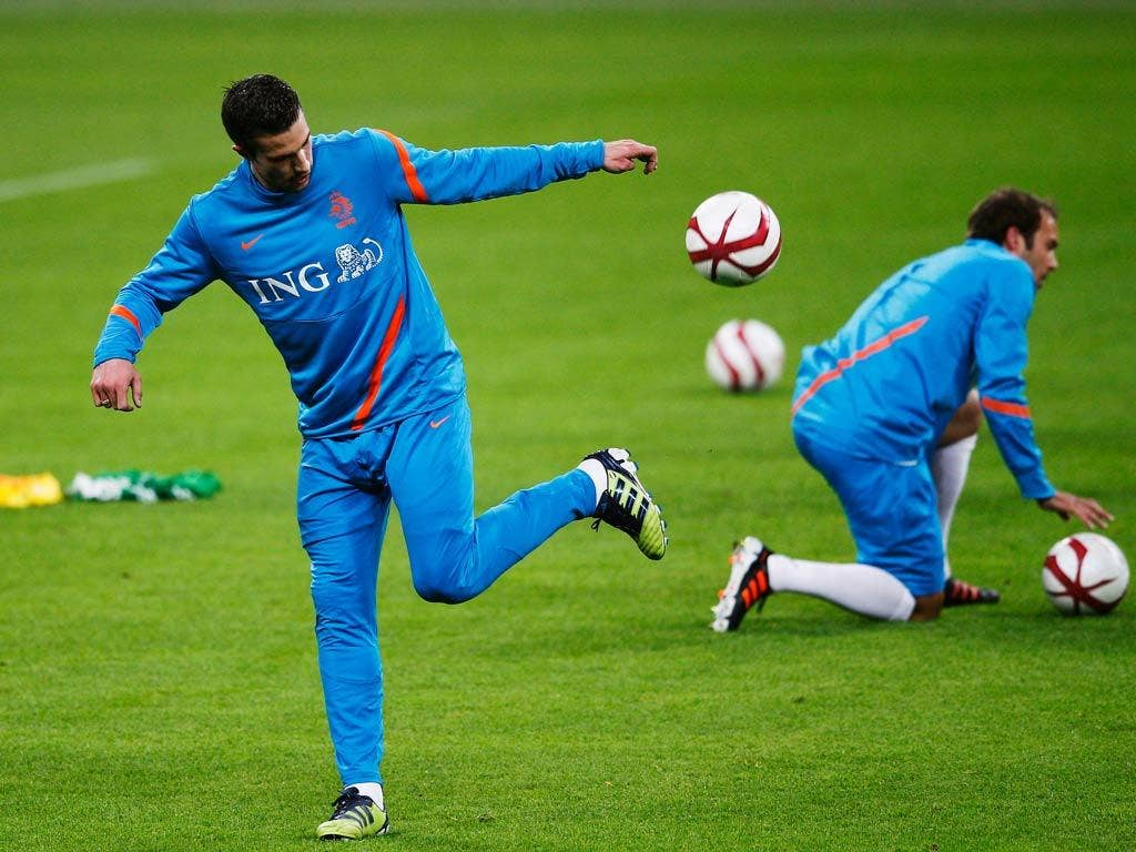 Van Persie pictured training with the Dutch squad
