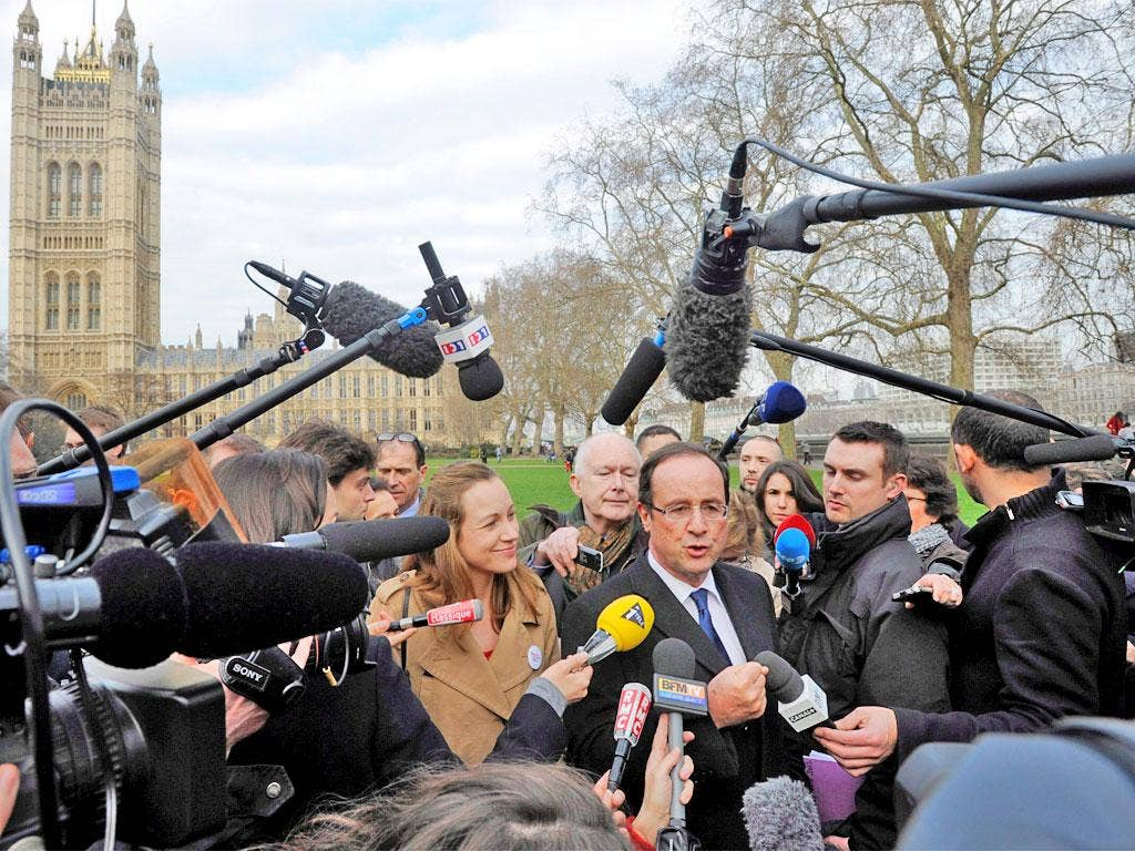 François Hollande's walkabout in London