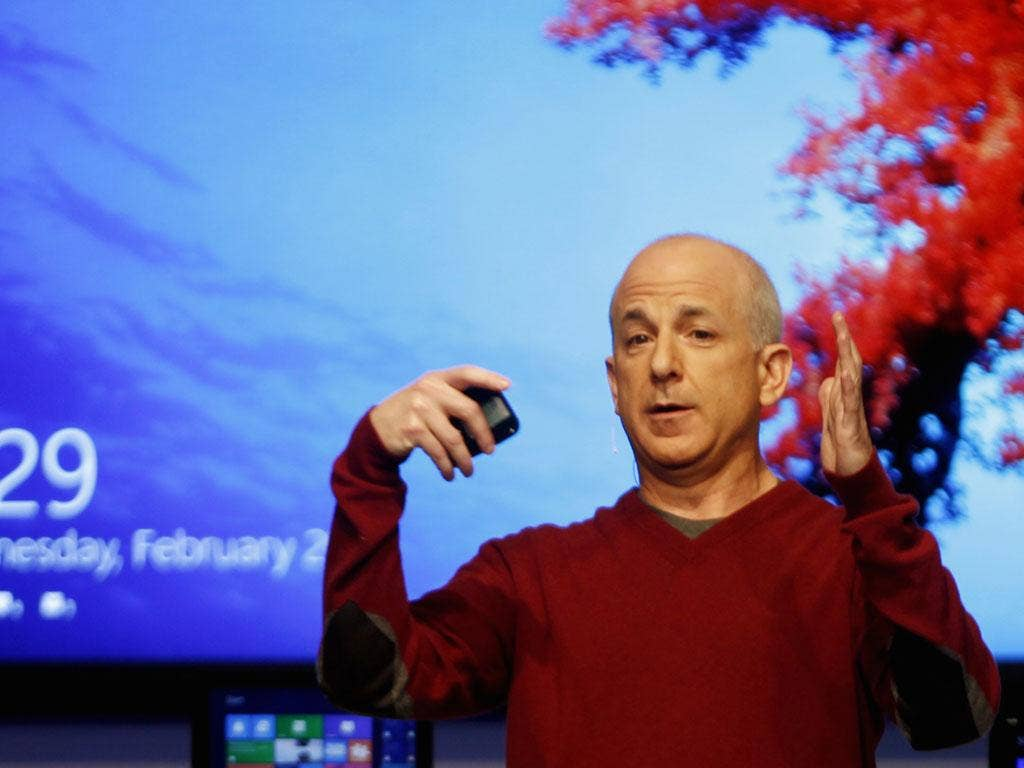 Steven Sinofsky, president of Microsoft's Windows division, at the Windows 8 consumer preview