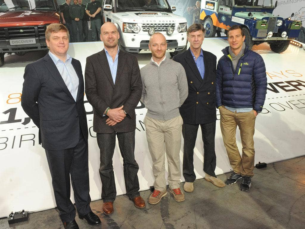Ray Mears, Monty Halls, Ben Saunders, Sir Ranulph Fiennes and Bear Grylls at Land Rover's reception