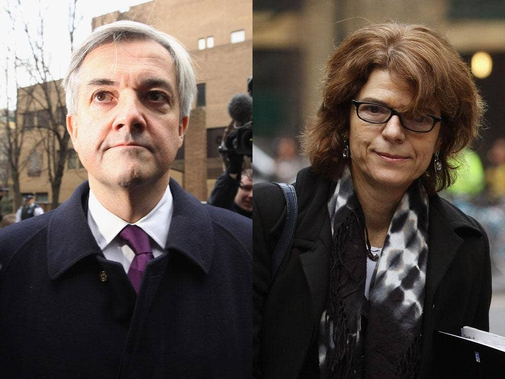 Chris Huhne and Vicky Pryce at Southwark Crown Court