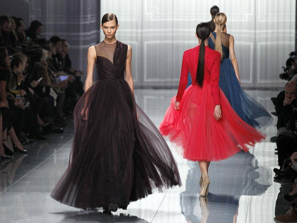 A creation by the British designer Bill Gaytten for Christian Dior during the fall/winter ready-to-wear collection in Paris