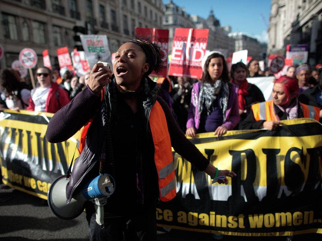 Demonstrators marched in London yesterday against male violence in the Million Women Rise protest