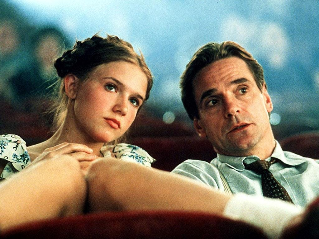 Jeremy Irons and Dominique Swain in the 1997 film of Nabokov's novel Lolita, whose underage sex could result in a ban