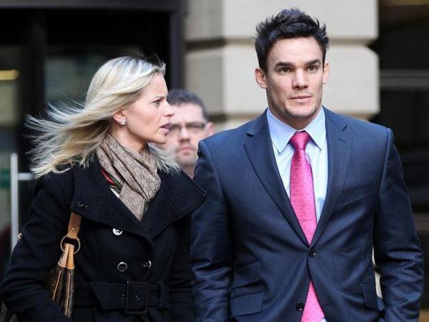 Max Evans and his girlfriend Katy Johnson outside Edinburgh Sheriff Court