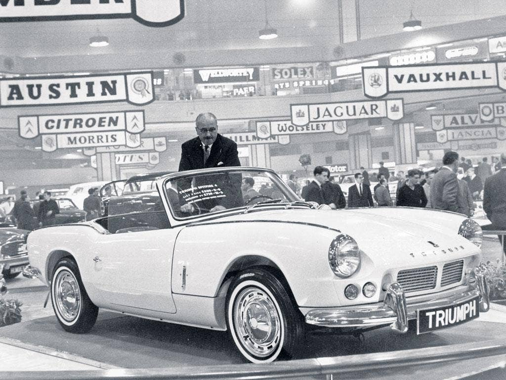 The launch of the Standard-Triumph Spitfire at the 1962 Earls Court Motor Show; it came to epitomise cool Sixties decadence