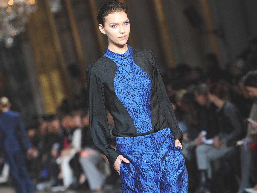 A model shows off part of the Stella McCartney ready-to-wear autumn/winter 2012 collection for Paris Fashion Week