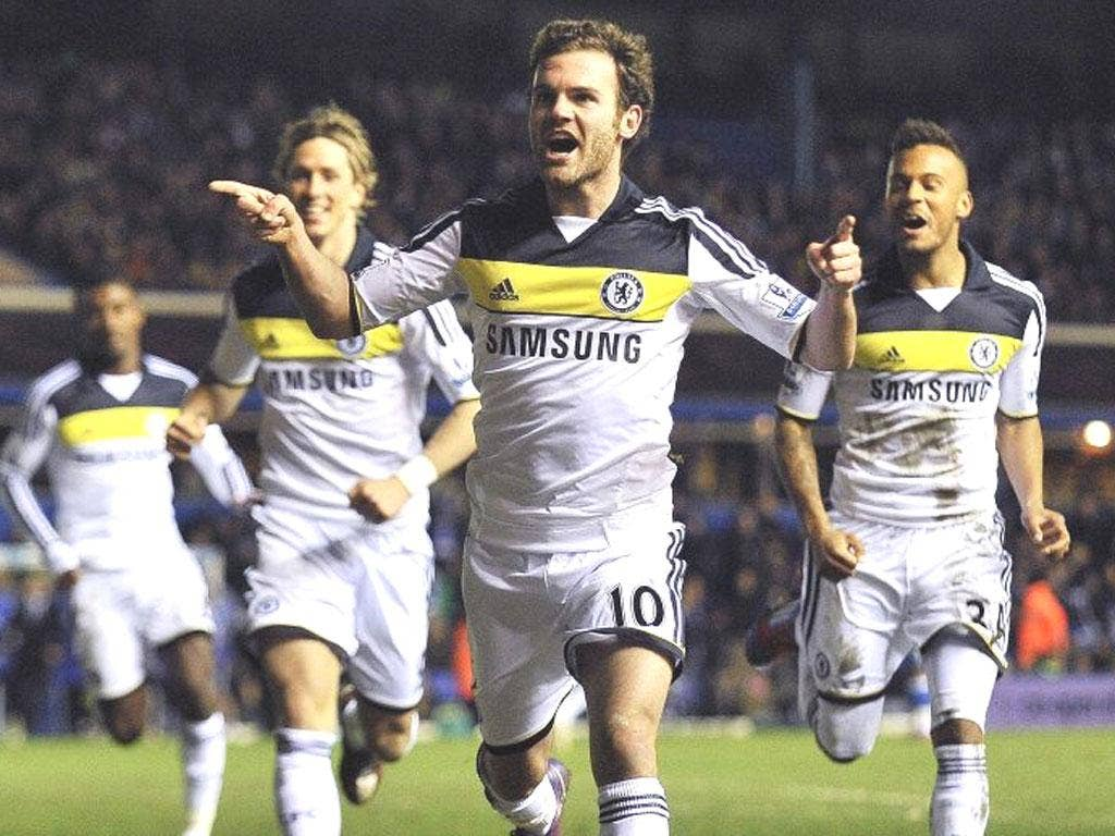 Chelsea's Juan Mata celebrates after scoring during the FA Cup fifth round win over Birmingham