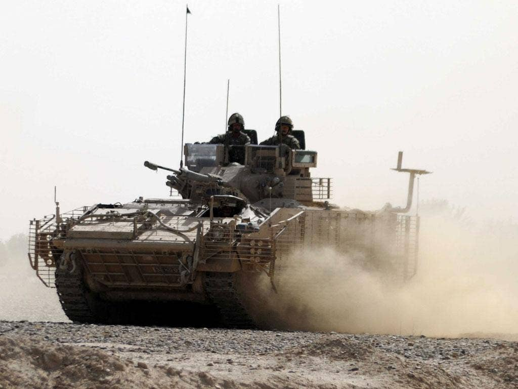 A Warrior armoured troop carrier in Helmand Province, Afghanistan