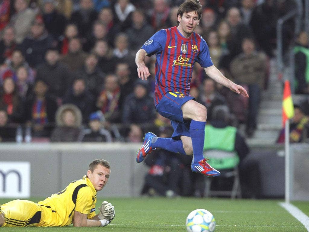 Lionel Messi's five goals at the Nou Camp last night - Fourth