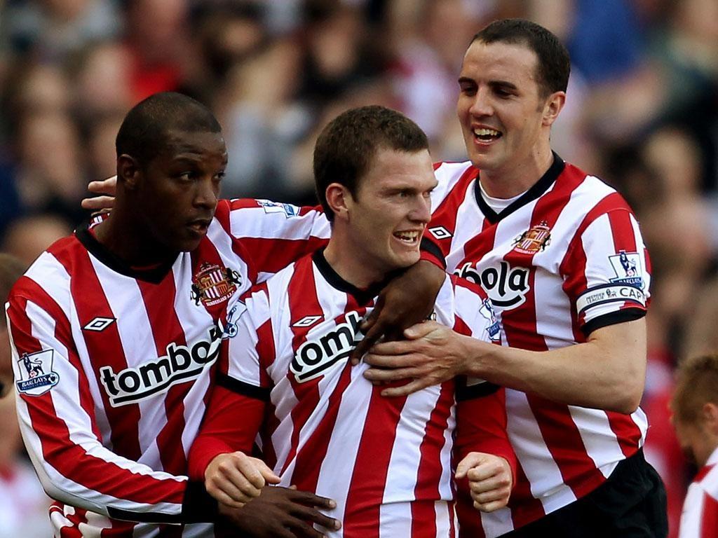 Craig Gardner celebrates another goal for Sunderland
