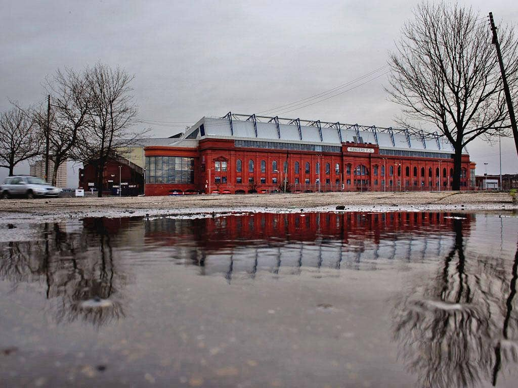 Rangers' home ground, the Ibrox Stadium in Glasgow
