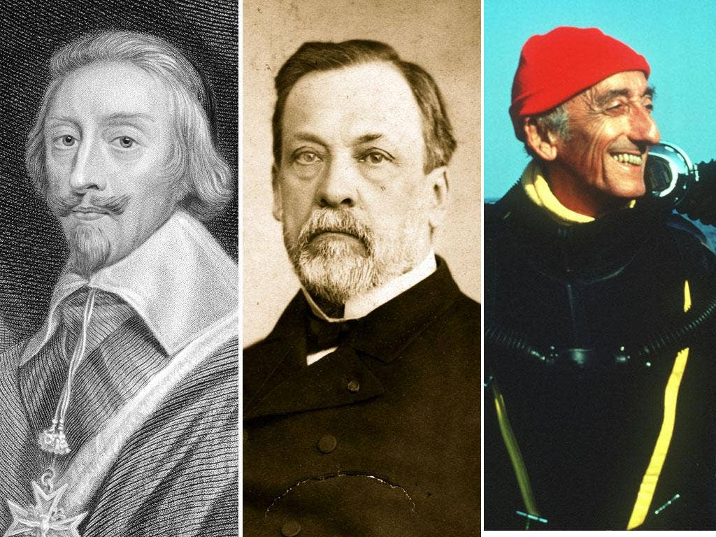 Cardinal Richelieu, top left, started the Académie Française in 1635, which has since included the scientist Louis Pasteur, centre, and the ocean explorer Jacques Cousteau, top right, as members
