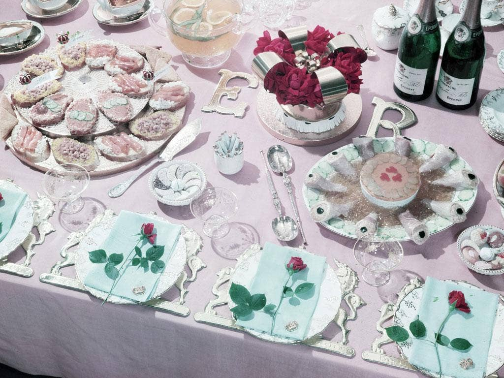 Cold platters laid out for a Coronation party back in 1953