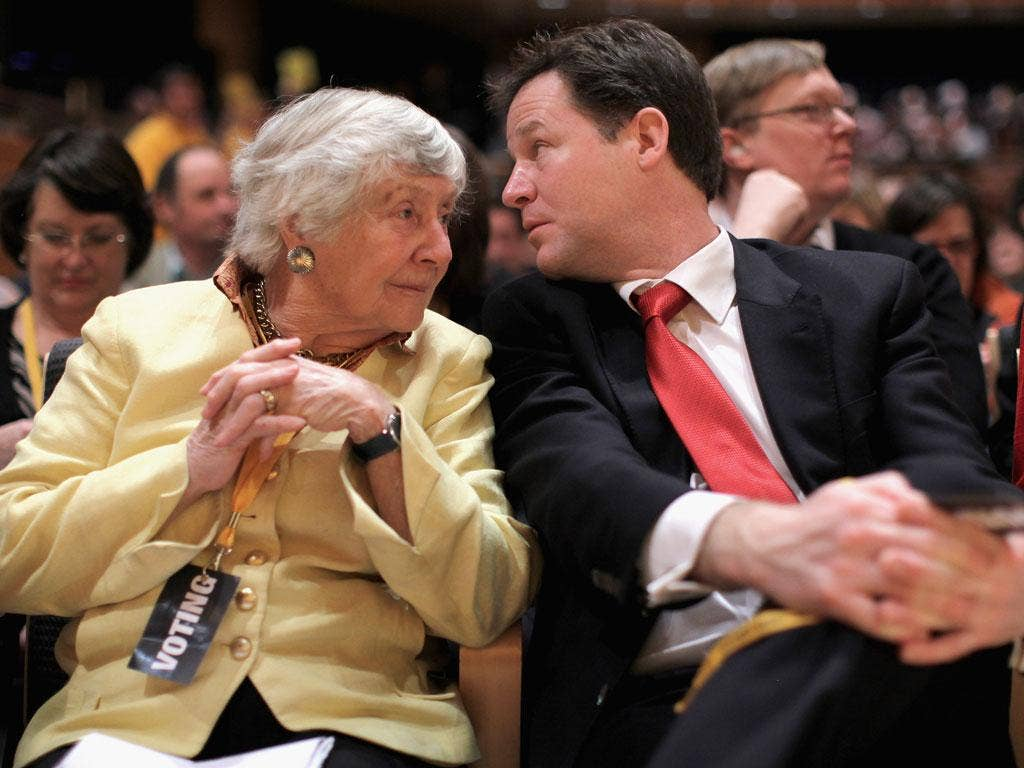 Liberal Democrat peer Shirley Williams and deputy Prime Minister and leader of the Liberal Democrats, Nick Clegg, ahead of today's vote on the NHS reform bill