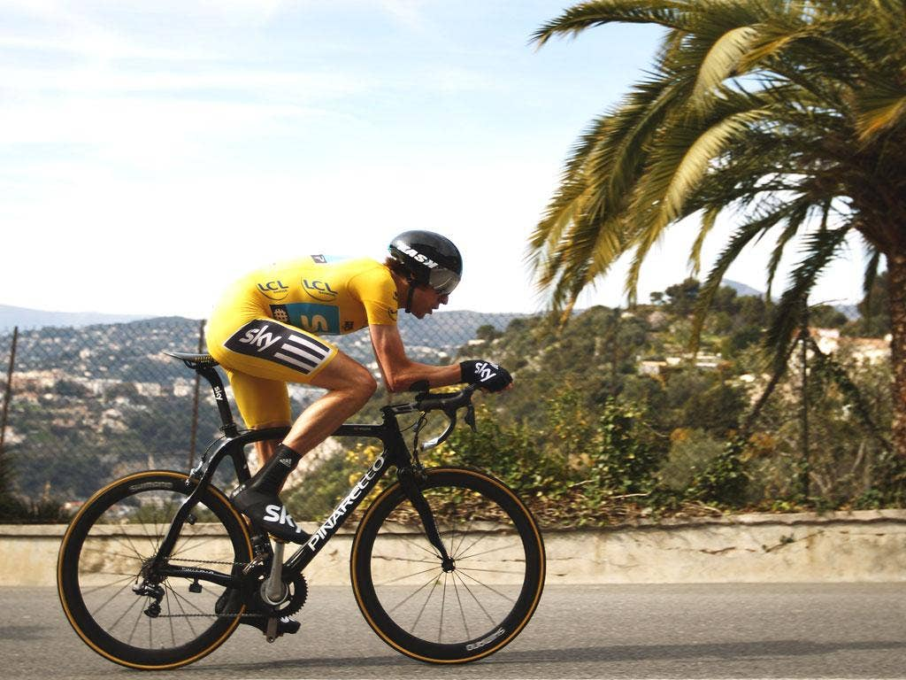 Bradley Wiggins on his way to victory in the Paris-Nice race