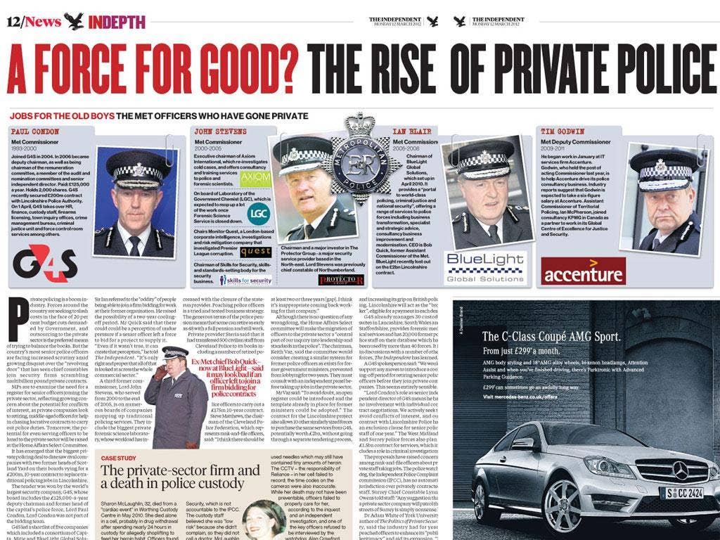 How 'The Independent' reported the growth of British police forces handing over duties to private firms