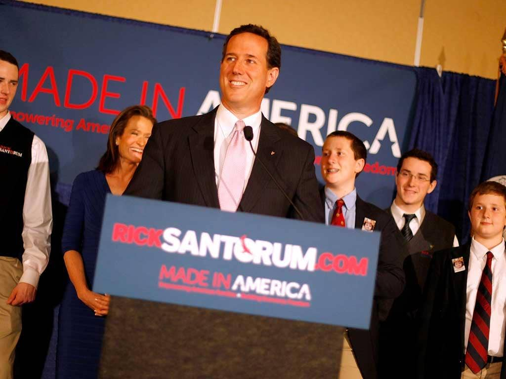 Rick Santorum addresses supporters after winning the both the Alabama and Mississippi primaries