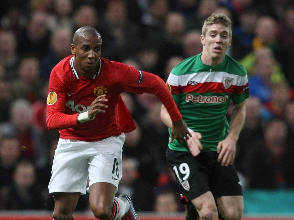 Ashley Young pictured in the first leg against Athletic Bilbao