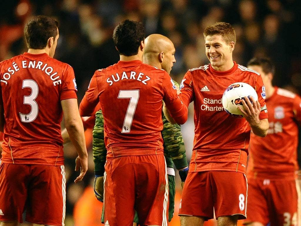 Gerrard claims the match ball