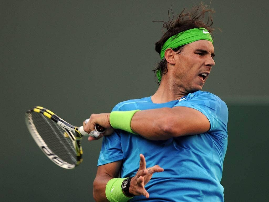 Rafa Nadal in action at Indian Wells