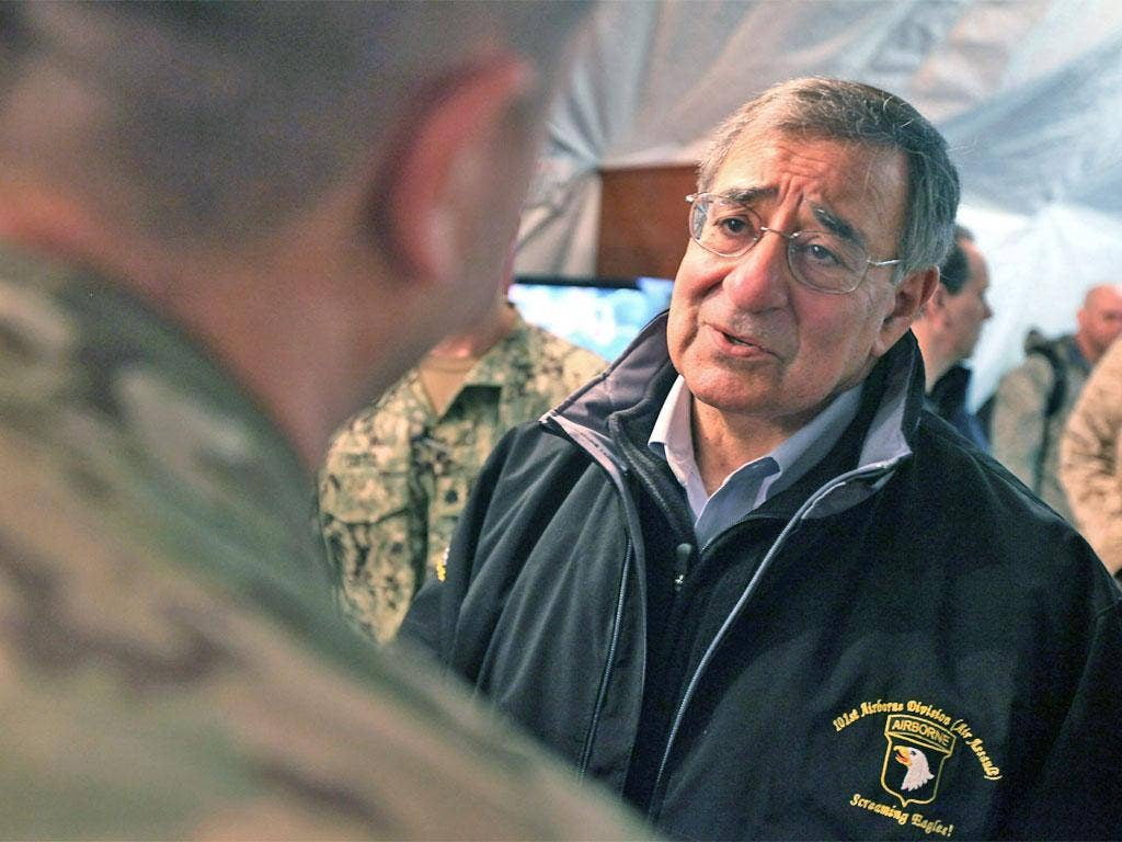 Leon Panetta, Defence Secretary, in Afghanistan yesterday